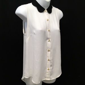 mine Ivory Cream Sleeveless Blouse Black Collar SM